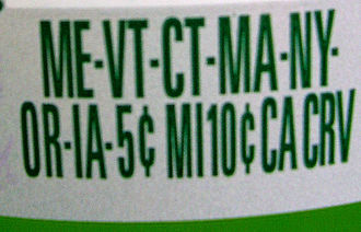 "Deposit notice on a bottle sold in continental U.S. indicating the container's deposit value in various states; ""CA CRV"" means ''Cash Redemption Value.''"