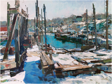 """Marine Railways, 2014'' (acrylic on canvas), by Charles Movalli (1945–2016), in the show ""Charles Movalli; Cape Ann & Beyond,'' at the  Cape Ann Museum, Gloucester, Mass. March 4-May 21."