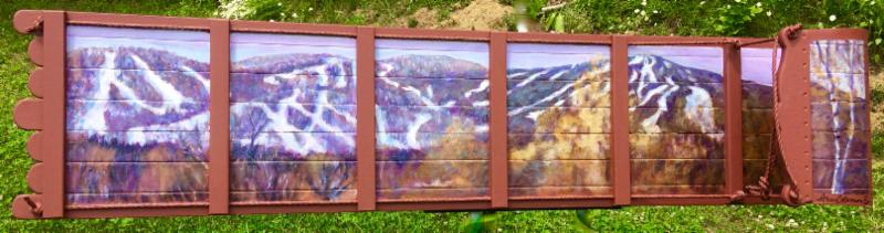 """Haystack to Mount Snow,""  painted on a toboggan, by Ann Coleman, at Ann Coleman Gallery, Wilmington, Vt ."
