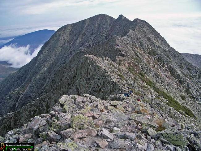 """""""The Knife Edge'' atop Mt. Katahdin."""