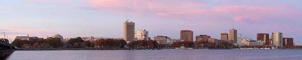 Panorama of Cambridge in 2016 from across the Charles River.