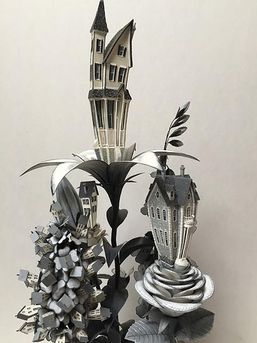 """Black/White Houseplant,'' by James Grashow, in his show ""Corrugated World: The Art of James Grashow,'' at the Flinn Gallery, Greenwich, Conn. The show features corrugated board sculptures and detailed woodcut prints."