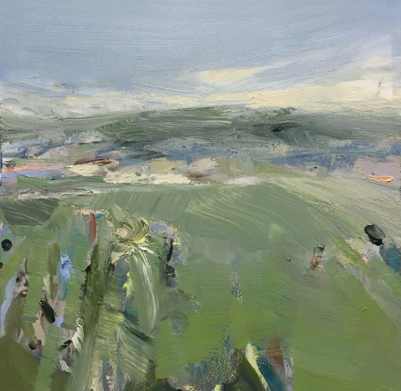 """""""Spring Field'' (on on panel), by Hannah Bureau, at Alpers Fine Art, Andover, Mass."""