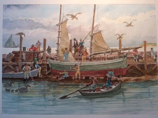 Watercolor by William Hall, part of his show at the Jessie Edwards Gallery on Block Island,scheduled for this July.