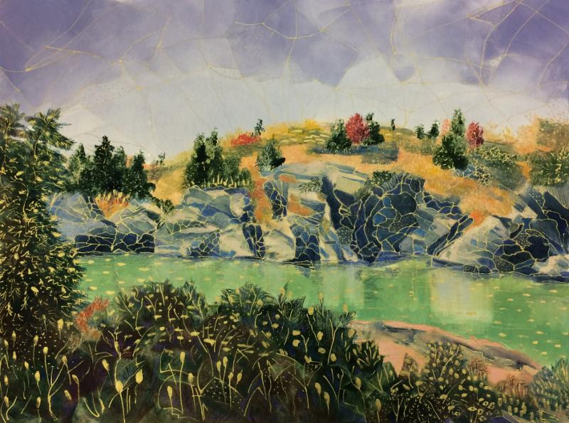 """""""Fall, Fort Wetherill, Jamestown {R.I.}'' (monotype, archival ink, colored pencil), by Elizabeth Goddard in her show with Regina Partridge, """"The Lay of the Land,'' at the Providence Art Club."""