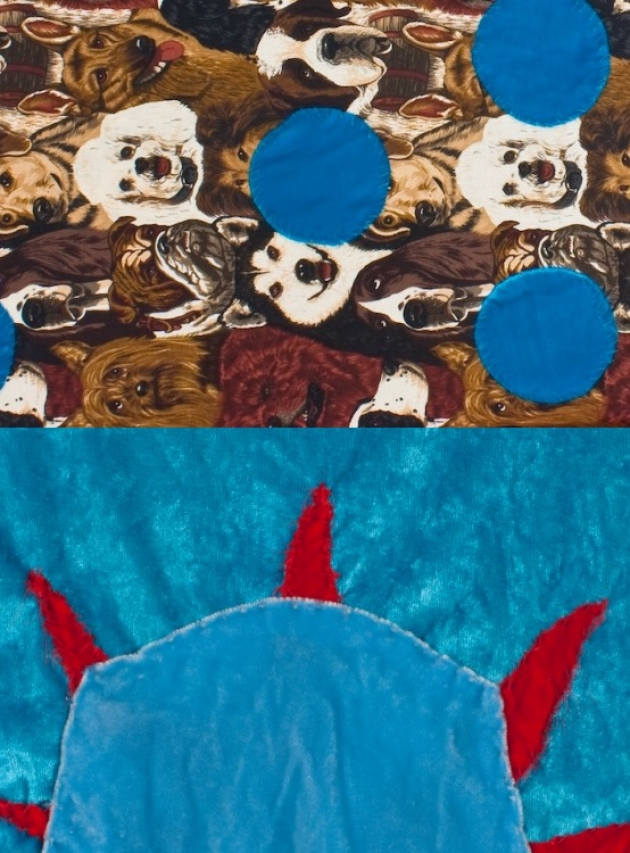 """Top, """"Wild Child'' (silk velvets, fake fur, chiffon); bottom """"Red Leaf' '(crushed rayon velvet, crushed polyester stretch velvet, silk velvet, rayon velvet) by Beverly Semmes, in her show at Samson Projects, Boston through May 27."""