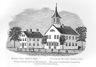 Thetford Academy, Thetford, Vt., as seen in a 19th Century woodblock.