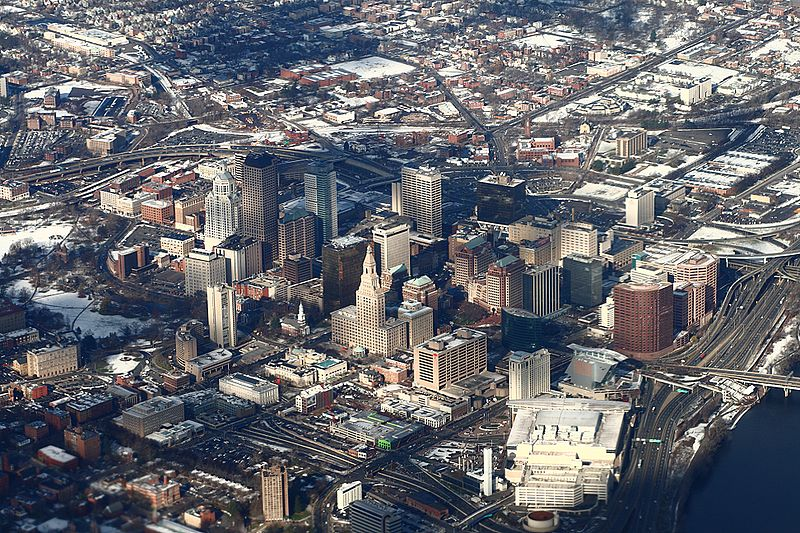 "Downtown Hartford, once famed as the ""Insurance Capital of the World.''    --  Photo by Sage Ross"
