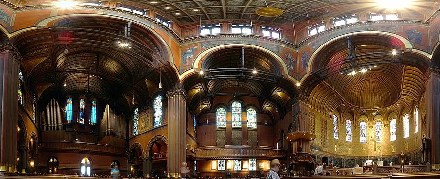 Panorama of the inside of Trinity Church, Boston, built in 1872-77. The shadows from new nearby towers threaten to sometimes reduce the beauty of the stained glass windows.