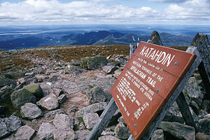 Top of Mt. Katahdin, in Maine, the northern terminus of the Appalachian Trail.