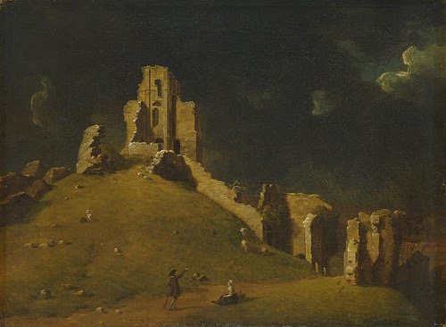 """""""Corfe Castle, Dorset'' (oil), by Inigo Richards, in the show """"Art in Focus: The British Castle -- a Symbol in Stone,'' at the Yale Center for British Art, New Haven., through Aug. 6."""