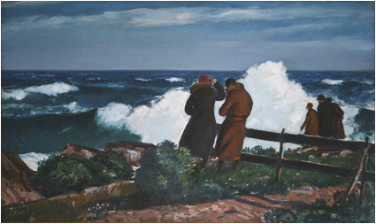 """Northeaster #2, Bass Rocks'' {in Gloucester, Mass.}  (oil on board), by Gifford Beal (1930), in the show ""Rock Bound: Painting the American Scene on Cape Ann and Along the Shore,'' at the Cape Ann Museum, Gloucester,  June 3-Oct. 29."