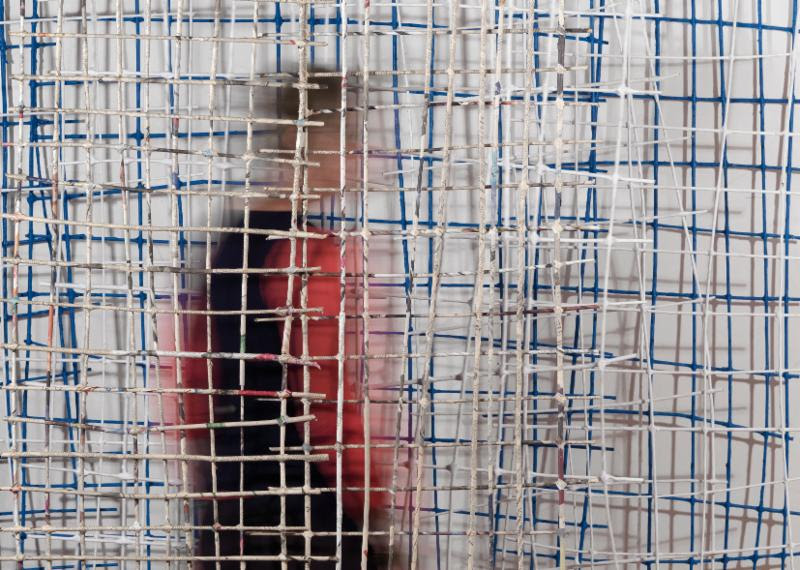"""Summer Palace'' (large suspended sculpture built from latticed panels), by Caroline Bagenal, at Boston Sculptors Gallery, May 10-June 11. Ms, Bagenal explores themes of freedom and confinement, evoking, says the gallery, ""exterior and interior worlds.''"