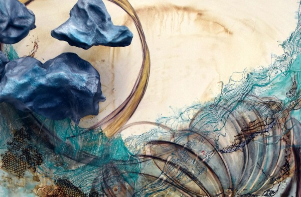 """""""In Flux'' (mixed media on canvas, detail),by Sarah Alexander, in her joint show with Tatiana Flis titled """"Scarcely Awake,''at Fountain Street Gallery, at 400c Harrison Ave., Boston. The gallery just moved from Framingham."""