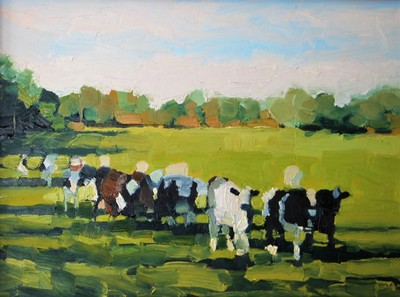 """Cows on Old Jerusalem Road'' (in Salisbury, Vt.) (oil on panel), by Hannah Sessions, at Alpers Fine Art, Andover, Mass."