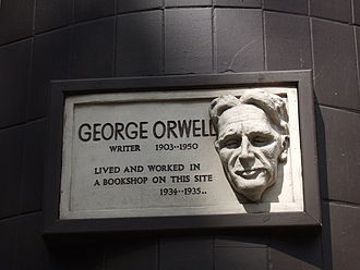 "Plaque marking where George Orwell worked in the Hampstead section of London. ""Political language is designed to make lies sound truthful,'' he wrote."