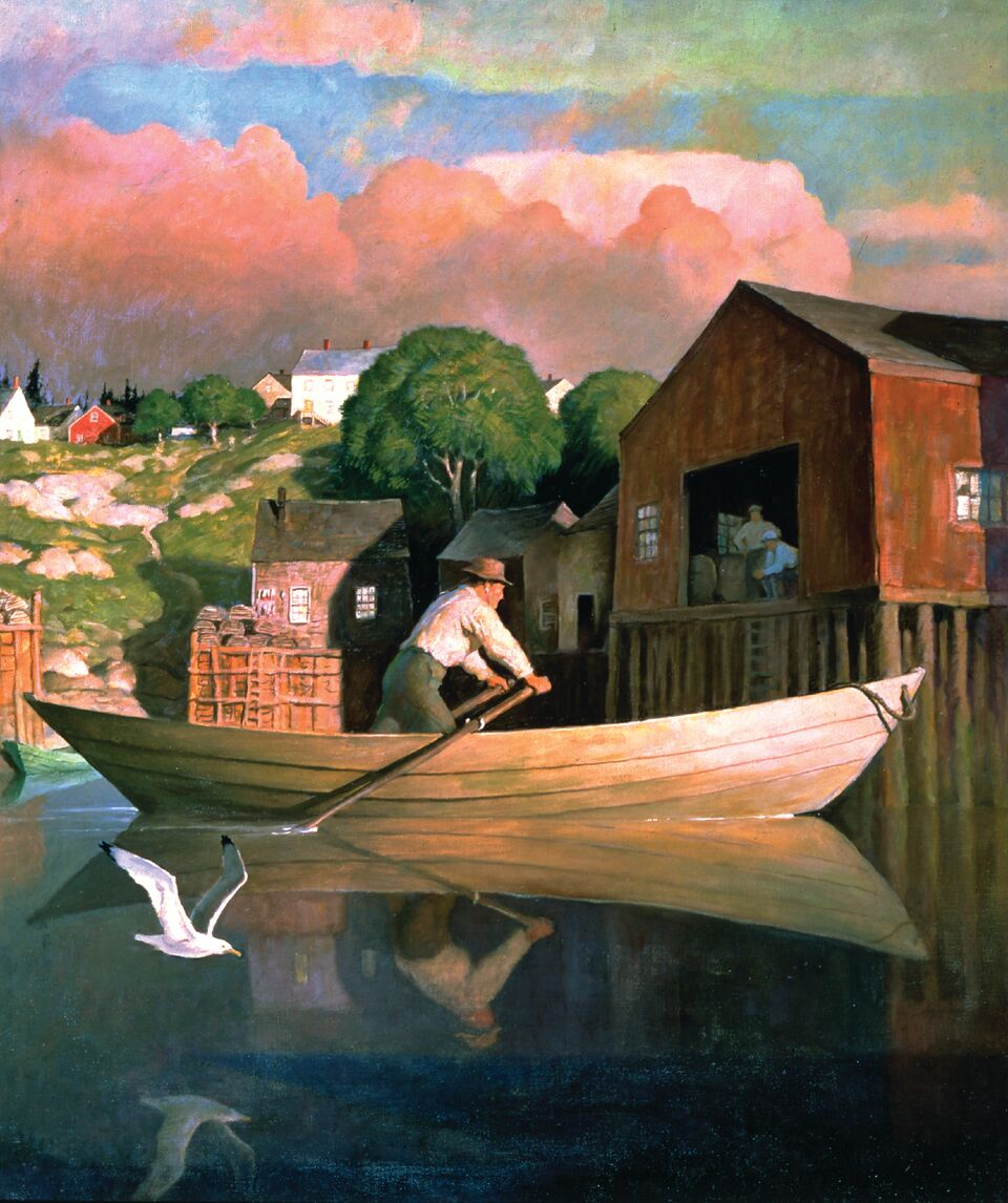 """""""The Doryman'' (Evening) (oil on canvas), by N.C. Wyeth (1882-1945), in the show """"Howard Pyle, His Students & the Golden Age of American Illustration,'' opening May 26 at the National Museum of American Illustration, Newport.    Copyright National Museum of American Illustration, Newport, R.I.; Photo courtesy of the American Illustrators Gallery, New York. N.Y."""