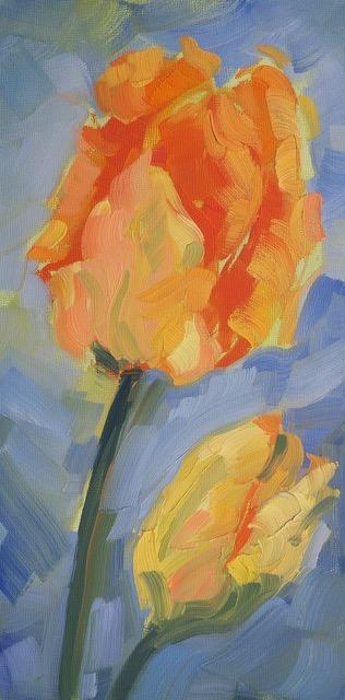 """Orange Tulips,'' Rokhaya Waring, at Alpers Fine Art, Andover, Mass."
