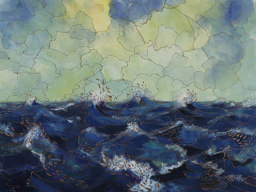 """""""A Playful Sea II '' (monotype) by Elizabeth A. Goddard, at the show """"New England on Paper,'' at the Boston Athenaeum."""