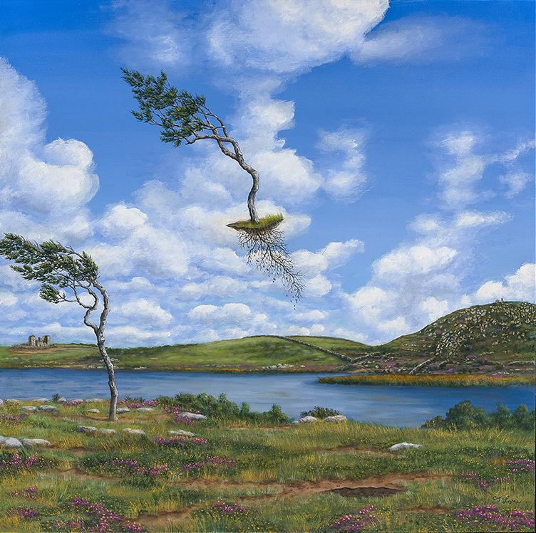 """Irish Uprising'' (oil on cradled panel), by C.J. Lori, in her show ""Come Fly With Me','' at Galatea Fine Art, Boston, June 1-30."