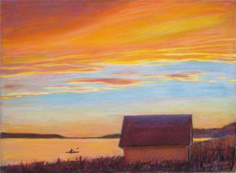 """Mustard Sky'' (pastel), by Ann Coleman at the gallery named for her in Wilmington, Vt."