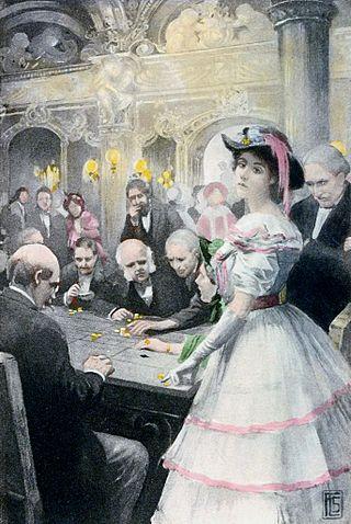 """Gwendolen at the roulette table""– 1910 illustration with  George Eliot 's   Daniel Deronda ."