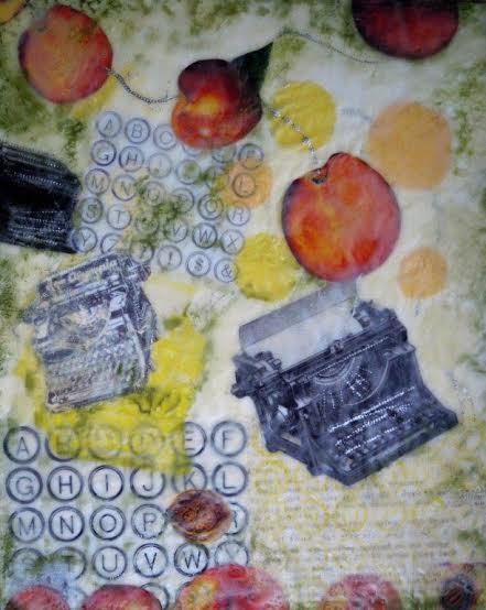 """Do I Dare to Eat a Peach #2'' (encaustic), by Nancy Whitcomb."