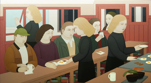 """""""Jessie's Diner'' (oil on linen), by Andrew Stevovich, at Adelson Galleries, Boston."""