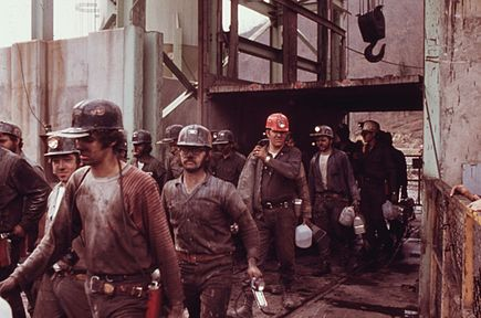 Leaving an Appalachian coal mine at the end of a shift.