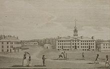 The earliest known image of Dartmouth  College, Hanover, N.H., in the February 1793 issue of Massachusetts Magazine.  The college, officially founded in 1769, was an outgrowth of a Connecticut school for educating Native Americans founded in 1755.