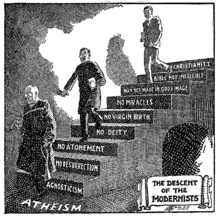 A Protestant Fundamentalist cartoon portraying Modernism as the descent from Christianity into atheism.