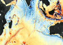 Seafloor map of southern Indian Ocean.