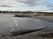 """Bailey's Beach after Superstorm Sandy in 2012, with """"Rejects' Beach'' in the foreground."""
