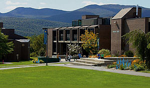 Bentley Hall at Johnson State College, with the Sterling Mountain Range in the background.