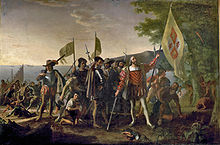"""Landing of Columbus '' (12 October 1492), by John Vanderlyn."