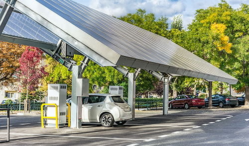 An electric-vehicle charging station, powered by solar panels, in Segovia, Spain