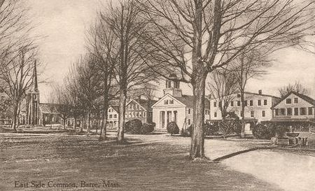 The Barre, Mass., town green in the late 19th Century.