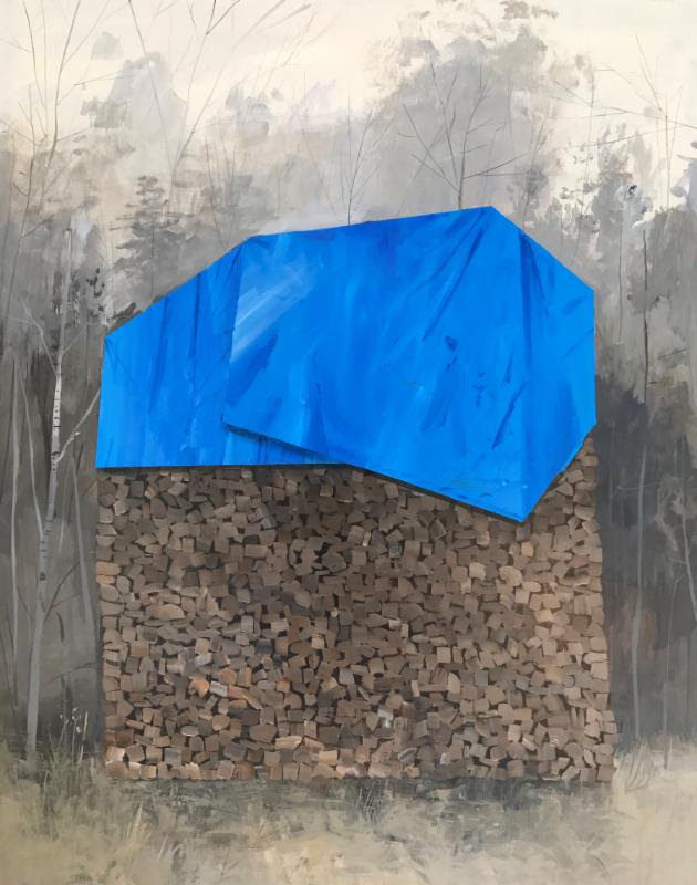 """""""Stock Pile'' (acrylic on panel), by Jeremy Miranda, in the two-man show with David Barnes """"The View From Plato's Man Cave,'' at Atelier Newport (R.I.), Nov. 12-Dec. 10."""