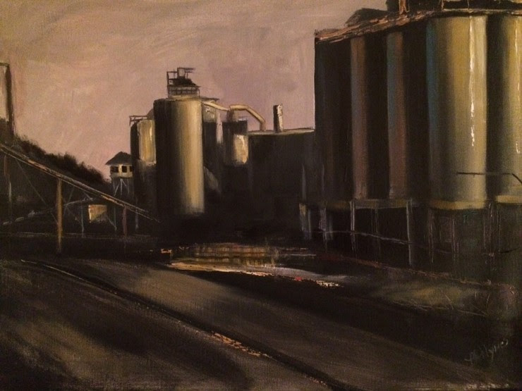 """  Wrentham   Asphalt Plant'' (oil), by Lorraine Hynes, in the current group show ""The Edge of Light,'' with Mary Jane Begin and Kelly McCullough, at the Providence Art Club."