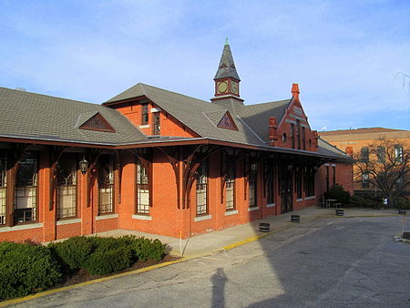 The old train station in Woonsocket, R.I., that's the headquarters of Boston Surface Railroad Co.