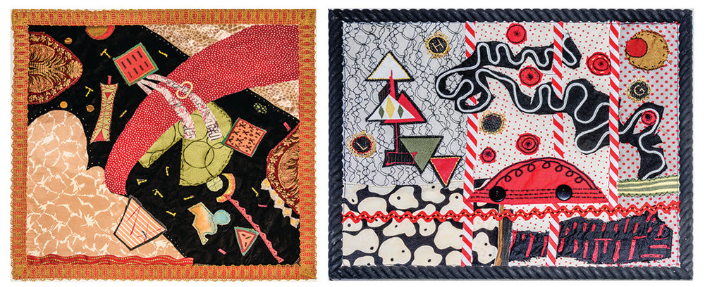 "From left, ""After Kandinsky'' (textile, fiber, embroidery); ""Sunday Drive'' (textile, fiber, embroidery), by the husband and wife team of Grey and Leslie Held, in their show ""Evoking Stories: Explorations in Collaborative Collage,'' Dec. 8-Jan. 4 at  the New Art Center (NAC), Newton, Mass. The gallery says: ""This exhibition features fabric collages made collaboratively by Grey Held, Collaborative Drawing instructor at NAC, and his wife Leslie Held, an ""award-winning theatrical costume designer. Leslie's collection of fabric scraps, ribbons, and salvaged sections of embroideries are the basic materials Grey and Leslie use to construct their various fabric collages, each with its own color palette and emotional temperature. The pair describe their work as something that emerges and evolves through the process of collaboration; they never know how a piece will turn out, but must surrender to the collaborative process that has its own trajectory, its own unfolding story.''"