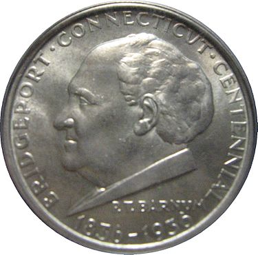 Likeness of showman and Bridgeport Mayor P.T. Barnum on the Bridgeport centennial half dollar commemorative coin,  minted in 1936 to celebrate the centennial of the incorporation of the city.