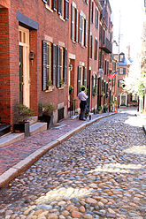 A street on Boston's Beacon Hill, an epicenter of  Lowell family activities.