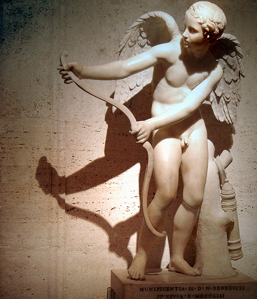 """ Eros Stringing His Bow,'' statue in the Capitoline Museum, in Rome.    -- Photo by Ricardo Andre Frantz"