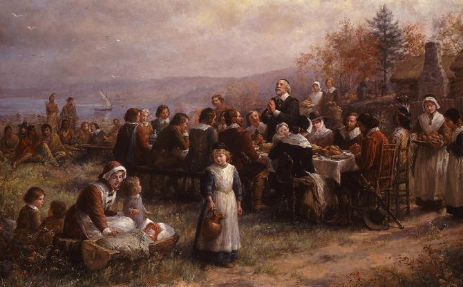 """The First Thanksgiving at Plymouth'' (oil on canvas), by Jennie A. Brownscombe (1850-1936), at the National Museum of Women in the Arts."