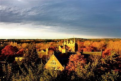 View of the Bowdoin College campus, in Brunswick, Maine, from Coles Tower. Bowdoin is one of the rich  institutions that would be hit by the GOP endowment tax plan.