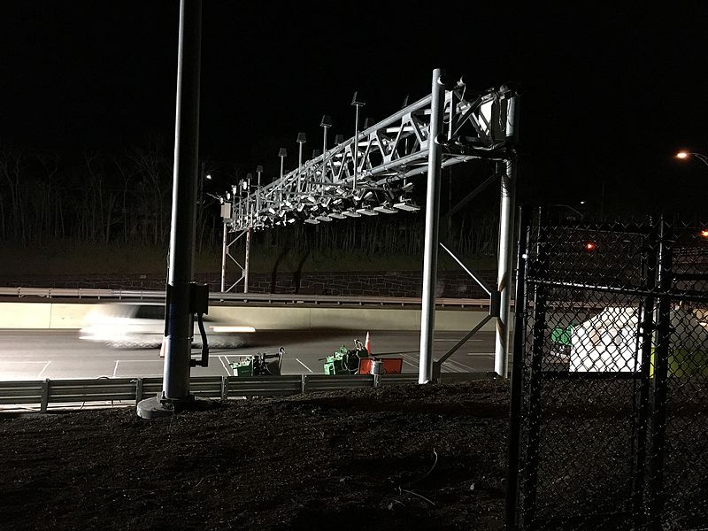 Fare-collection gantry over the Massachusetts Turnpike in Newton.