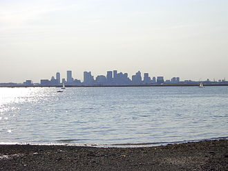 View of Boston from Winthrop's Point Shirley in 2003. Sylvia Plath lived in Winthrop for a few years in her childhood. She later wrote about the town, a peninsula north of Boston.