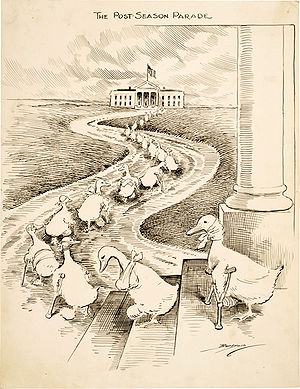 The lame ducks depicted in this  Clifford K. Berryman  cartoon are defeated Democrats heading to the  White House  hoping to secure political appointments from  President  Woodrow Wilson .