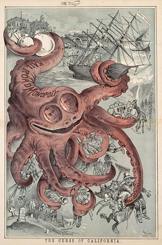 "G. Frederick Keller's ""The Curse of California,'' which appeared in The Wasp on Aug. 19, 1882, is the likely origin of the depiction of the Southern Pacific Railroad monopoly as an octopus."